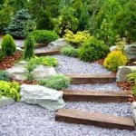 landscaping stairs through garden
